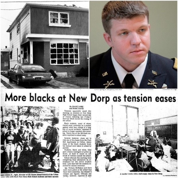 Army Major Danny Sjursen analyzes Staten Island's troubled race relations over the years, which include tensions at New Dorp High School in 1980, and an arson attack in 1972 on a home the day before a black family was set to move in.