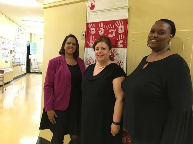 PS 39 Principal Tracey Wright, center, is joined by assistant principals Kassandra Lopez-Garcia at left and Keena Flournoy-White at right. (Staten Island Advance/Claire Regan)