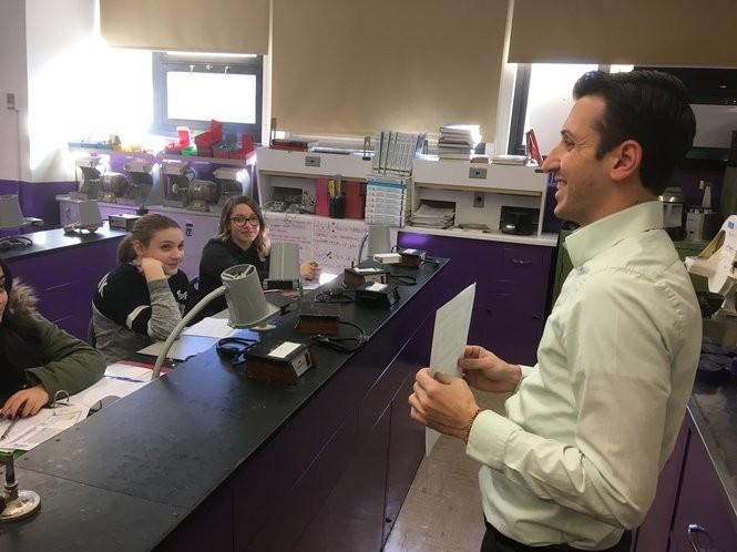 Joseph Caputo teaches about safety procedures during a dental technology class. (Staten Island Advance/Claire Regan)