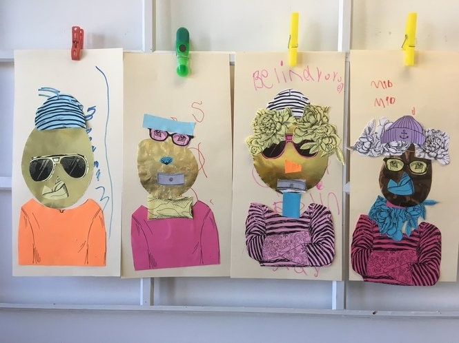 """Self-portraits are ready for the """"Art Works"""" exhibit, opening April 22 in the Staten Island Children's Museum. (Staten Island Advance/Claire Regan)"""