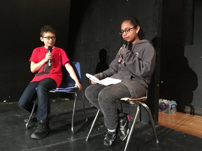 Nelson Perez and Jessica Castellon participate in a Write-A-Play program sponsored by IlluminArt Productions in the Morris Intermediate auditorium. (Staten Island Advance/Claire Regan)