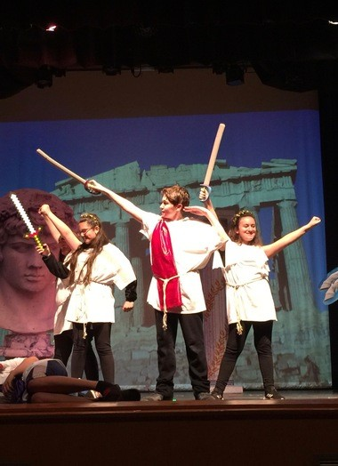 """The Nest Drama Club students performed the comedy """"The Greek Mythology Olympiaganza"""" on April 25 during Autism Awareness Month. (Photo courtesy of Tatiana Ciccarelli)"""