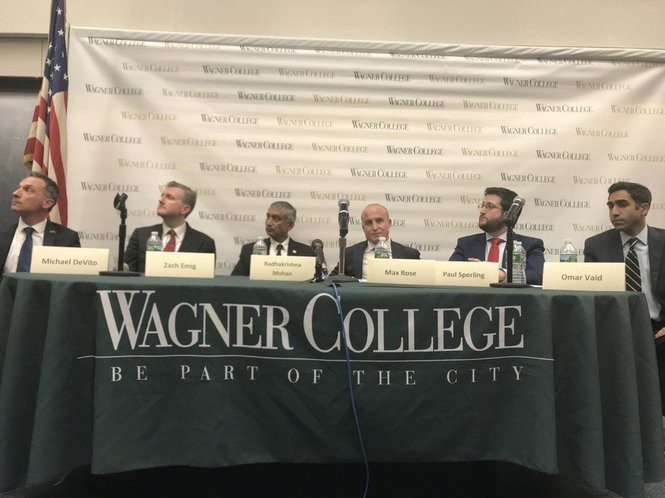 From left to right, Michael DeVito, Zach Emig, Radhakrishna Mohan, Max Rose, Paul Sperling and Omar Vaid at an April 25 debate in Wagner College. (Staten Island Advance/Clifford Michel)