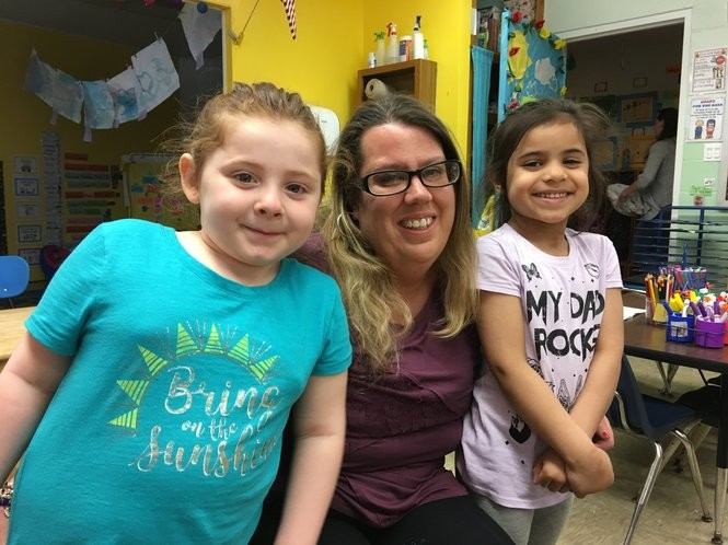 Pre-kindergarten teacher Tracy Sokol is joined by Sydney Quartuccio, left, and Sehejdeep Kang. (Staten Island Advance/Claire Regan)