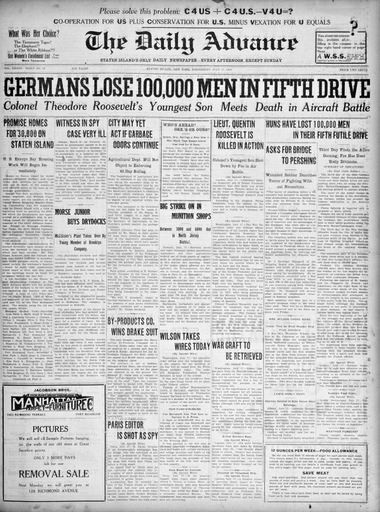 Advance historic page from July 17, 1918.