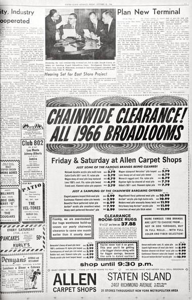 Advance Historic Page From Oct 28 1966 Allen Carpet Shop Sale