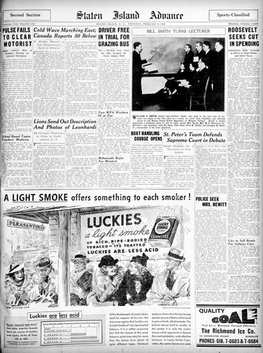 Advance historic page from Feb. 6, 1936.