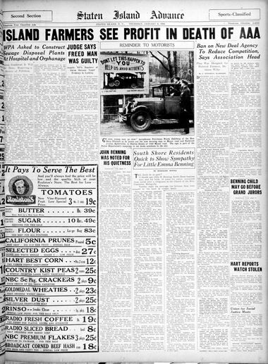 Advance historic page from Jan. 9, 1936.