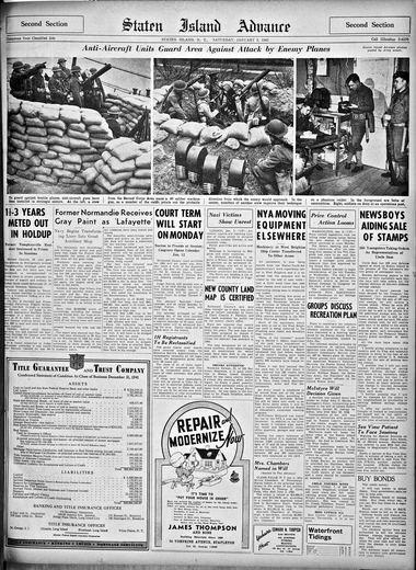 Advance historic page from Jan. 3, 1942.