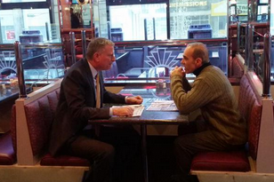 Mayor Bill de Blasio and Borough President James Oddo have breakfast at the Colonnade Diner in January.