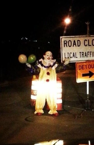 A man dressed as a clown was recently photographed near the Richmond Valley train station.