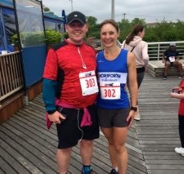 Malcolm and Joanna Shevlin from Leeds, United Kingdom complete Staten Island Advance Memorial Day run.
