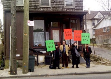 Preservationists outside 848 Castleton Ave. on Saturday, March 2. They are looking to preserve a structure, built in 1900, that was, at one time, home to the West Brighton branch of the New York Public Library.