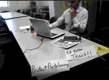 Franceso Portelos broadcast his displeasure at being warehoused in Queens office.