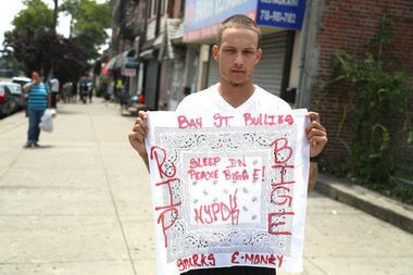 Ramsey Orta, 22, in this photo taken shortly after Eric Garner's death, held a memorial for Garner on Bay Street. Orta was later arrested Saturday, Aug. 2, on weapon possession charges. (Staten Island Advance/Ryan Lavis)