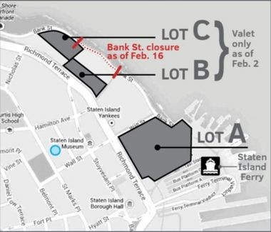 As of Feb. 2, Lot C, off Bank Street on Richmond Terrace, will begin valet-only parking. Come Feb. 16, Lot B will also utilize stackers and allow for valey-only parking. (Map courtesy of Impark)