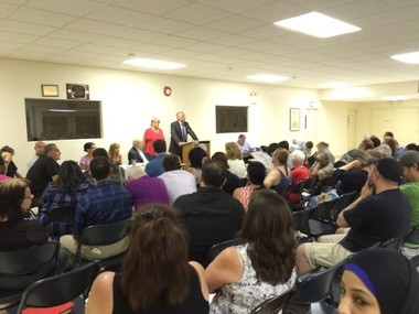 A Community Board 1 meeting was filled to capacity as members voted on a proposal to construct a 7-story building on Port Richmond Avenue to house mentally-ill individuals. July 21, 2015. (Staten Island Advance/Virginia N. Sherry)