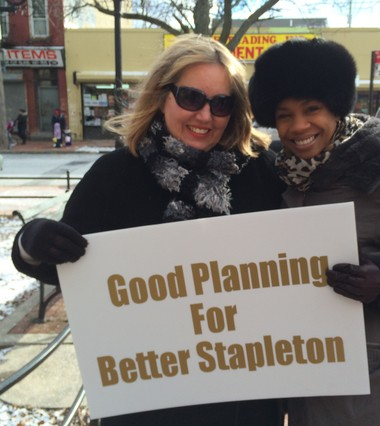 Stapleton residents and civic leaders Mirjana Luczun and Kamillah Hanks before the press conference in Tappen Park on Monday, Jan. 18, 2016. (Staten Island Advance/Virginia N. Sherry)