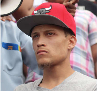 Ramsey Orta stands on the steps of the 120 Police Precinct stationhouse in St. George during a rally in 2014.