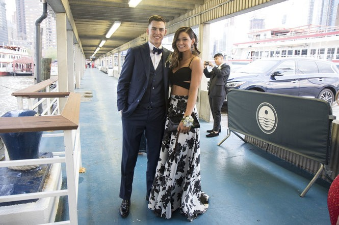 Devin Tait and EmilyLaPointe board the World Yacht at Pier 81 for St. Peter's Prom. (Staten Island Advance/Amanda Steen)