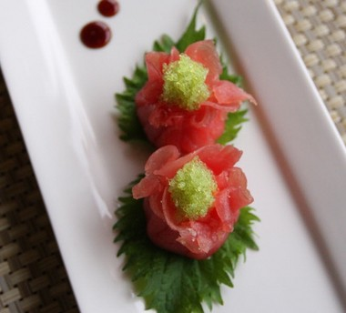Tuna served with wasabi ikura. (Staten Island Advance photo)