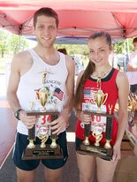 Staten Island Advance Memorial Day Run 2013 winners Jason Lakritz and Victoria SanFilippo proudly display their trophies.