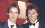 Jeff Benjamin, left, with Rod Dixon at the 1991 Runner's World 25th anniversary dinner where he was named the World's Most Versatile Distance Runner.