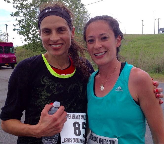 Women's winner Christine Pagano, right, edged Melissa Kraker at the finish line of the Spring Meltdown 5K Run at Freshkills Park in Travis.