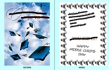 """The """"hand me down"""" card Bruce Hopman designed for Middle Child's Day."""