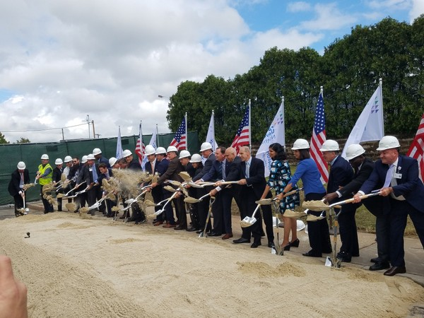 Officials break ground on a new power plant at Staten Island University Hospital's Ocean Breeze campus.
