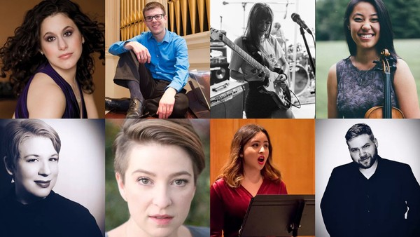 Shoestring Baroque features (clockwise from top left): Leah Wool, mezzo-soprano; Mark Rossnagel, organist and music director at Trinity Lutheran Church; Rose Couchon, electric guitarist; Katherine Liu, violinist; Eric Alexieff, tenor; Sylvia Maisonet, soprano; Kristin Gornstein, mezzo-soprano; and Kristin Reiersen Parrish, artistic director and soprano. Not pictured: Kerianna Krebushevski, soprano. (Photos courtesy ShoestringBaroque.org)