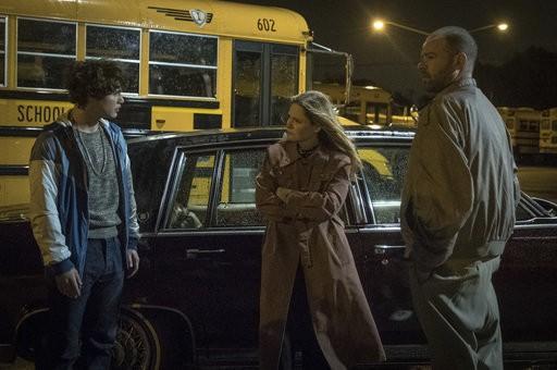 "Richie Merritt, left, Jennifer Jason Leigh and Rory Cochrane are shown in a scene from ""White Boy Rick."""