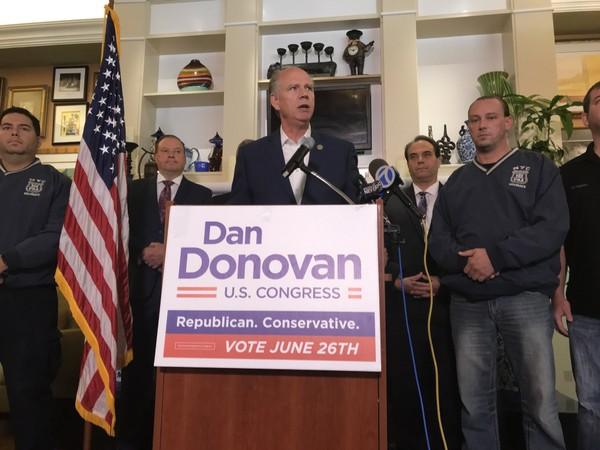 Rep. Dan Donovan received an endorsement from the Patrolmen's Benevolent Association at the Hilton Garden Inn in Bloomfield.