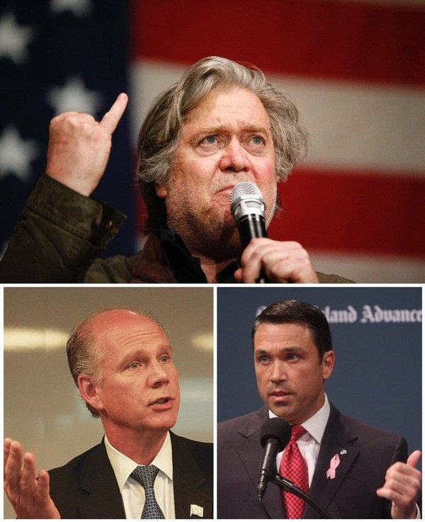 Steven Bannon, Rep. Daniel Donovan and congressional challenger Michael Grimm.