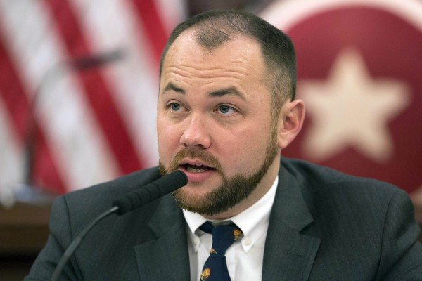 """Councilman Corey Johnson speaks at a hearing in introducing legislation making it easier for transgender people to change the sex on their birth certificates. The City Council adopted legislation on Wednesday that will allow people who don't identify as male or female to change the gender designation on their birth certificates to """"X."""" (AP Photo/Mark Lennihan File)"""