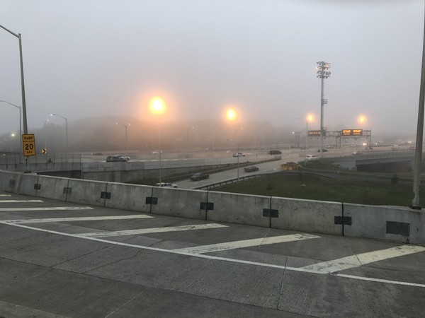 Fog has prompted speed restrictions on the Verrazano-Narrows Bridge.