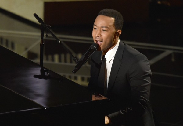 John Legend performs on stage at the Oscars on Sunday, Feb. 22, 2015, at the Dolby Theatre in Los Angeles. (Photo by John Shearer/Invision/AP)