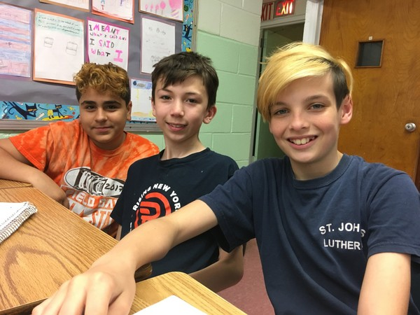 Paul Pipitone, left, Christian Allan and Liam Walsh are seventh-graders at St. John's Lutheran School in Castleton Corners. (Staten Island Advance/Claire Regan)