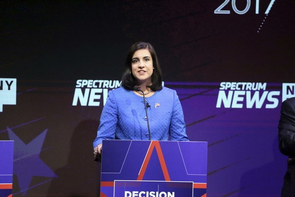 Republican mayoral candidate Nicole Malliotakis debates at Symphony Space in New York, Tuesday, Oct. 10, 2017.