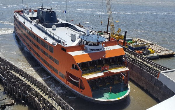 The restrooms have been renovated on the Samuel I. Newhouse Staten Island Ferry.