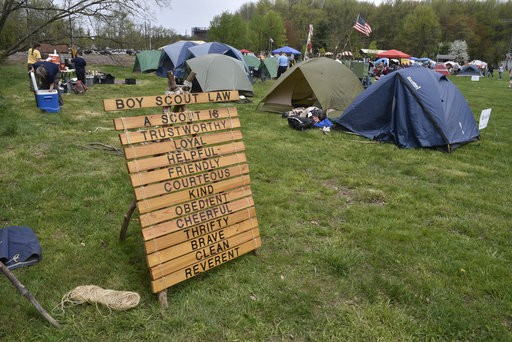 A sign displays the Boy Scout Law during the Staten Island Boy Scouts Camp-o-ree last spring. An open house will be held Sept. 15 at Pouch Scout Camp.