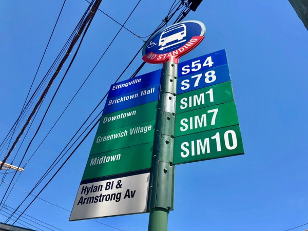 "The MTA has begun to install new bus signs in anticipation of the redesigned express bus network set to take effect on August 19. Staten Island express buses are now given ""SIM"" designations, as opposed to the previous ""X"" designations. (Staten Island Advance/Erik Bascome) Staten Island Advance"