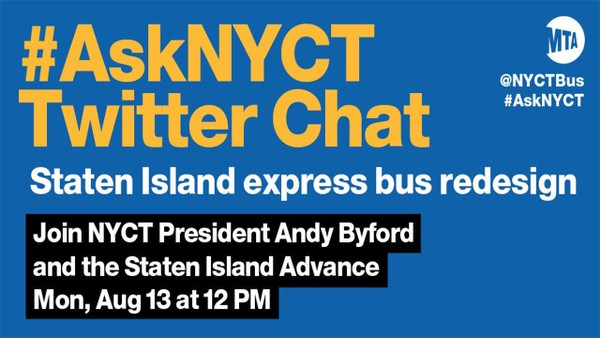 The MTA and SILive.com are partnering to host a live Twitter chat about the new Staten Island express bus network. (Courtesy of MTA)
