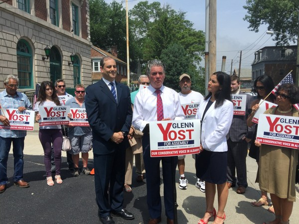 - Island attorney and former NYPD detective Glenn Yost announces candidacy for the South Shore state Assembly seat outside of the 123 precinct alongside State Sen. Andrew Lanza. (Staten Island Advance/Sydney Kashiwagi)