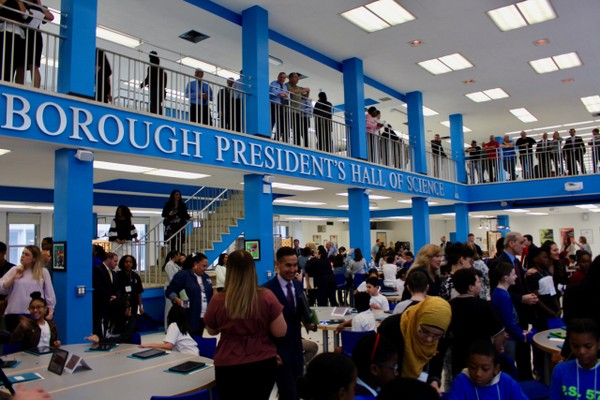 The newly unveiled Borough President's Hall of Science on the Michael J. Petrides School campus. (Staten Island Advance/Erik Bascome)