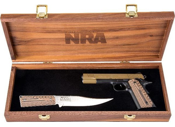 The Staten Island Friends of the NRA now-cancelled event included a raffle for the NRA Gun of the Year, a Kimber 1911 Custom II in 45 acp., matching Silver Stag knife and a custom display case, according to the flyer. (Staten Island Friends of the NRA Facebook page)