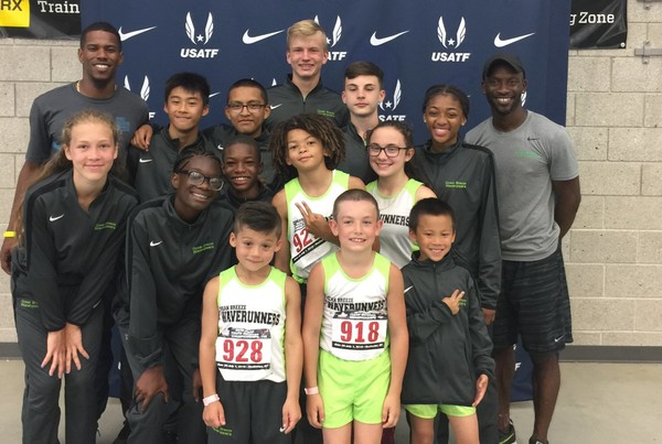 Some of the youth athletes from the Ocean Breeze WaveRunners who qualified to go to the Junior Olympics track meet in North Carolina, but no longer can because of a travel ban imposed by the city and state. (Photo courtesy/Joann Lucci)
