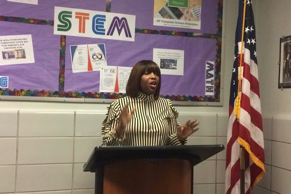 Port Richmond High School has not appointed a permanent principal. In this photo, interim acting principal of Port Richmond High School Oneatha Swinton speaks at the STEM lab ribbon cutting ceremony. (Staten Island Advance/Annalise Knudson)