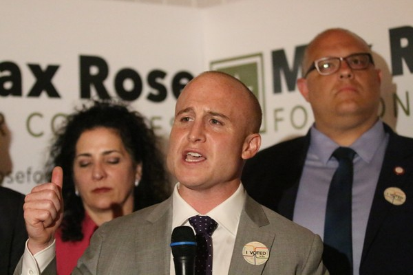 Max Rose comes to the podium at the Liberty Tavern in West Brighton after his democratic congressional primary win. (Staten Island Advance/Jan Somma-Hammel)