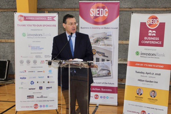 SIEDC Board Chairman Ralph Branca of Victory State Bank announced the 20th Annual SIEDC Business Conference. (Staten Island Advance/Thomas Erik Bascome)